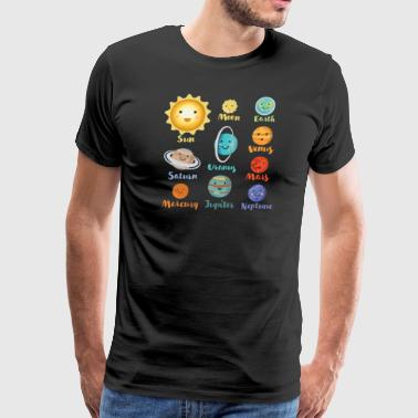 Cartoon Planets Of The Solar System - Men's Premium T-Shirt