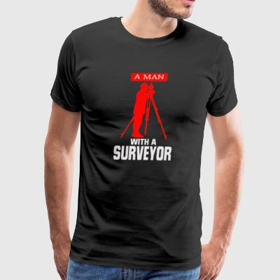 A man With a surveyor - Men's Premium T-Shirt