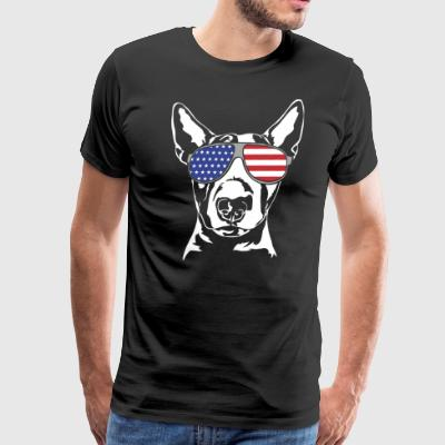 BULL TERRIER with America Flag Sunglasses - Men's Premium T-Shirt