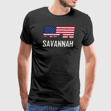 Savannah Georgia Skyline American Flag Distressed - Men's Premium T-Shirt