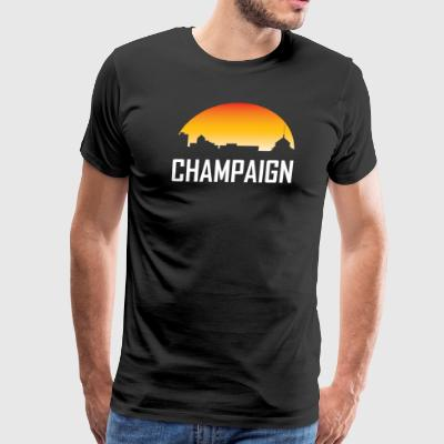 Champaign Illinois Sunset Skyline - Men's Premium T-Shirt
