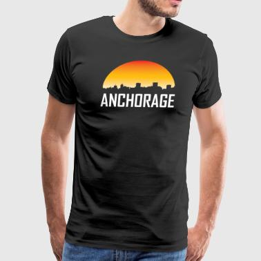 Anchorage Alaska Sunset Skyline - Men's Premium T-Shirt