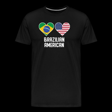 Brazilian American Heart Flags - Men's Premium T-Shirt
