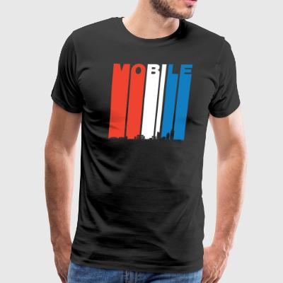 Red White And Blue Mobile Alabama Skyline - Men's Premium T-Shirt