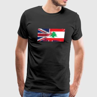 British Lebanese Half Lebanon Half UK Flag - Men's Premium T-Shirt