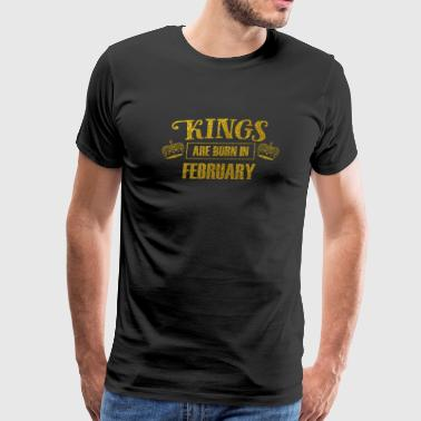 kings are born in february - gold birhtday glitter - Men's Premium T-Shirt