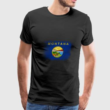 Montana State Flag Distressed Vintage - Men's Premium T-Shirt