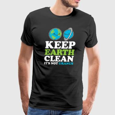 Keep Earth Clean It s Not Uranus Kawaii Planets - Men's Premium T-Shirt