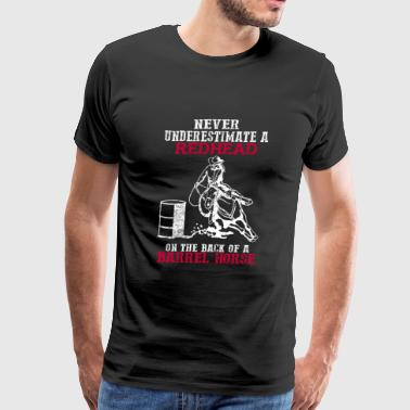 A Redhead on the back of a Barrel horse - Men's Premium T-Shirt