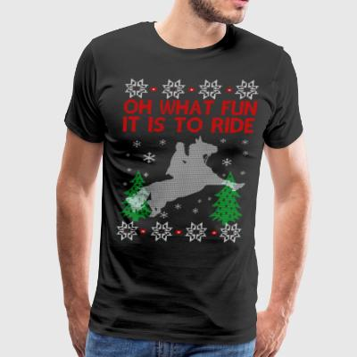 Riding Horse Ugly Christmas Sweater - Men's Premium T-Shirt