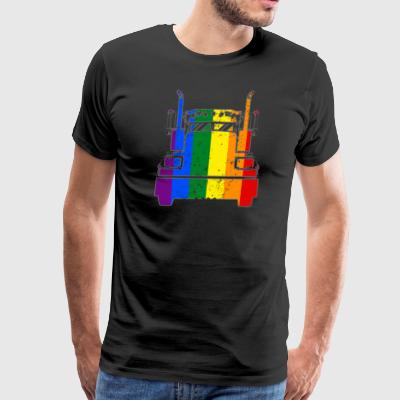 Gay Trucker Rainbow Flag LGBT Rights Support Shirt - Men's Premium T-Shirt