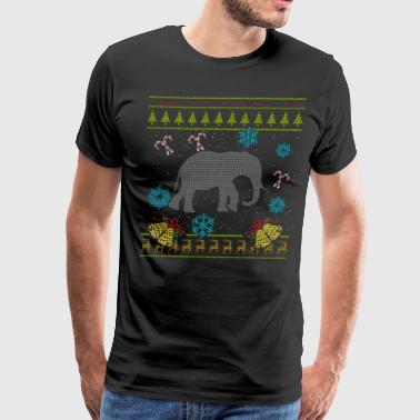 Elephant Christmas Ugly Shirt Sweater Ugly Design - Men's Premium T-Shirt