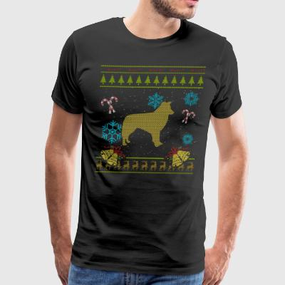 Ugly Sweater Christmas Shirt Border Collie Shirt - Men's Premium T-Shirt