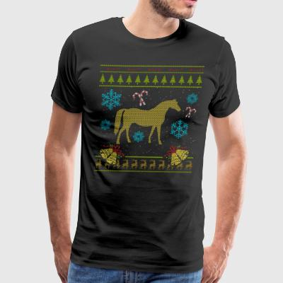 Ugly Christmas Sweaters Shirt American Indian Horse Shirt - Men's Premium T-Shirt