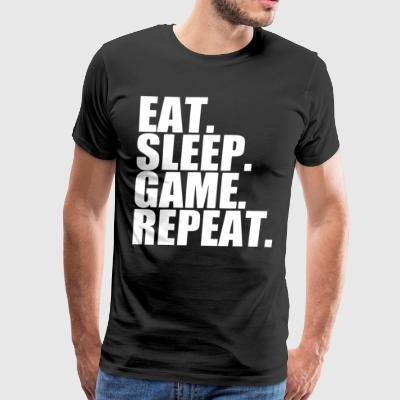 Eat Sleep Game Repeat Gamer Repeat Nerd Geek - Men's Premium T-Shirt