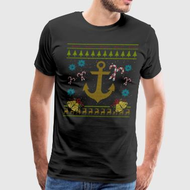 Sailor Christmas Ugly Sweater Boat Captain Anchor - Men's Premium T-Shirt