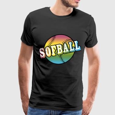 Softball Youth Neon Rainbow - Men's Premium T-Shirt
