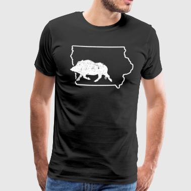 Hunting Wild Boar Iowa Feral Hog Snaring Hog Huting Shirt - Men's Premium T-Shirt
