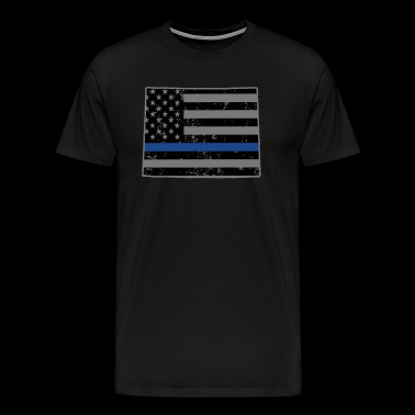 Wyoming Police & Law Enforcement Thin Blue Line - Men's Premium T-Shirt