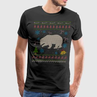 Grizzly Bear Hunting Christmas Ugly Holiday Shirt - Men's Premium T-Shirt