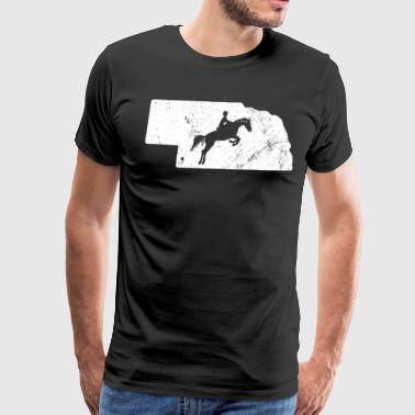 Nebraska Horse Jumping Shirt Equestrian Gifts Riding Shirt - Men's Premium T-Shirt