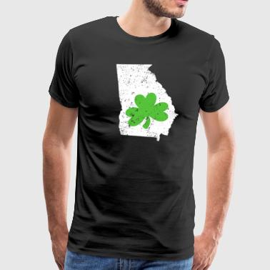 Green Shamrock Georgia Irish St Pattys Day Shirt - Men's Premium T-Shirt
