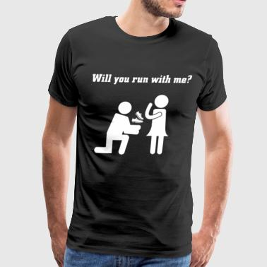 WILL YOU RUN WITH ME couple t shirts - Men's Premium T-Shirt