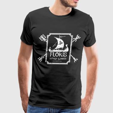 Flokis Ship Yard in Navy scandanavia viking - Men's Premium T-Shirt