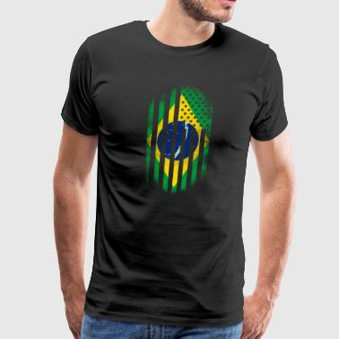 Brazilian American Flag Brazil and USA Design - Men's Premium T-Shirt