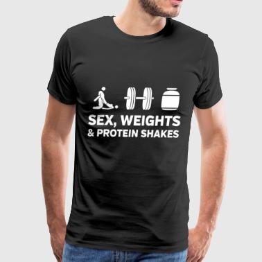 sex weights and protein shakes gym t shirt - Men's Premium T-Shirt