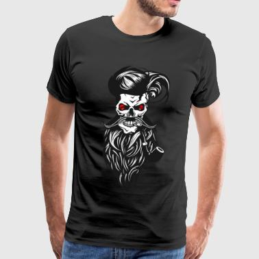 skull hipster bearded beard mustache pipe hat hair - Men's Premium T-Shirt