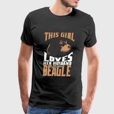 Beagle - This girl loves her Husband and her Bea - Men's Premium T-Shirt