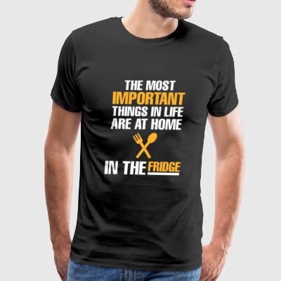 Eating - THE MOST IMPORTANT THINGS IN LIFE ARE A - Men's Premium T-Shirt
