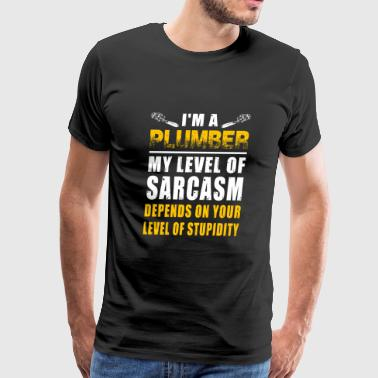 Plumber - i'm a plumber my level of sarcasm depe - Men's Premium T-Shirt