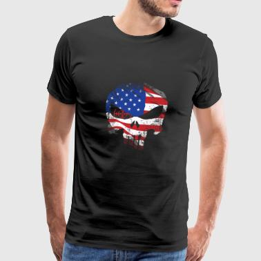 Shooter front skull - American flag - Men's Premium T-Shirt