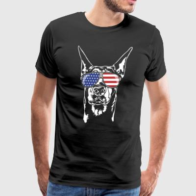 DOBERMAN with America Flag Sunglasses - Men's Premium T-Shirt