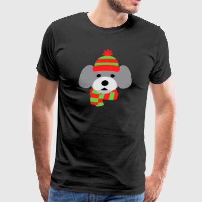 Waffles Dog in Red/Green Hat and Scarf - Men's Premium T-Shirt