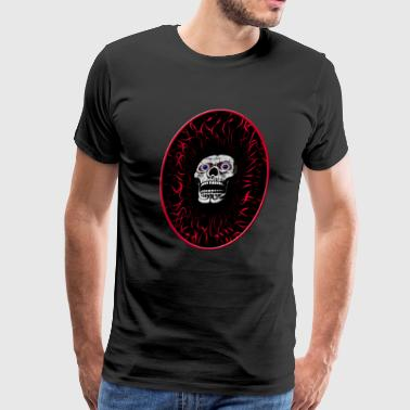 skull in flames - Men's Premium T-Shirt