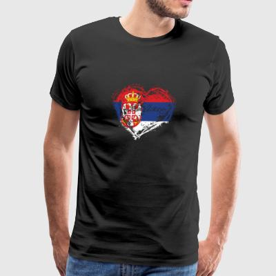 HOME ROOTS COUNTRY GIFT LOVE Serbia - Men's Premium T-Shirt