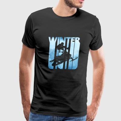 Vintage Retro Winter Holiday. Snowmobiling. - Men's Premium T-Shirt