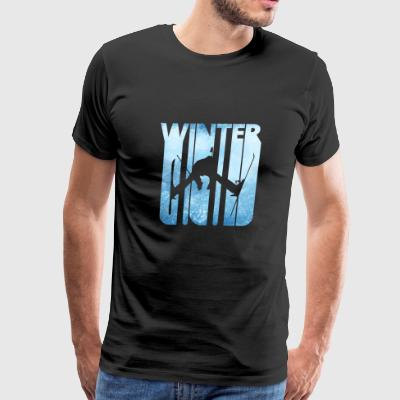 Retro Vintage Winter Holiday Gifts.Skiing Sports. - Men's Premium T-Shirt