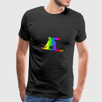 Colorful Snowboarding Rainbow - Men's Premium T-Shirt