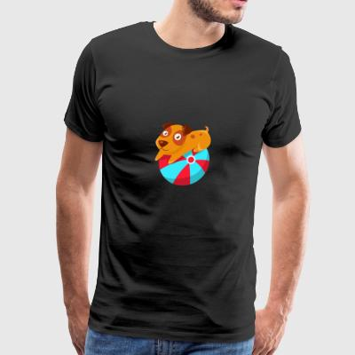 Puppy Balancing On The Inflatable Ball - Men's Premium T-Shirt