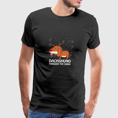 Dachshund Through The Snow Christmas Pun Dog Lover - Men's Premium T-Shirt