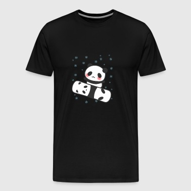 Panda Snowboard Funny Face Cute Blush Cheers - Men's Premium T-Shirt