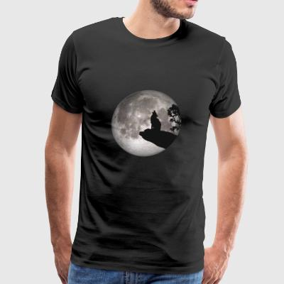 full moon dog werewolf wolf howl wolf pup - Men's Premium T-Shirt