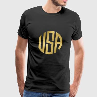 MONOGRAM CIRCLE USA GRUNGE - Men's Premium T-Shirt