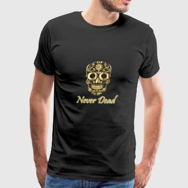 Golden skull Never Dead with artistic forms - Men's Premium T-Shirt