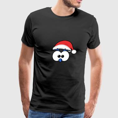 Eyes with Christmas hat and beak blue - Men's Premium T-Shirt