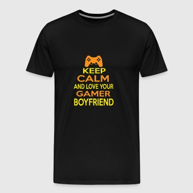 Gamer boyfriend game keep calm love friend nerd - Men's Premium T-Shirt